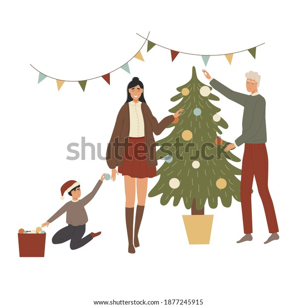 Family decorating a Christmas tree for the New Year. Father are hanging balls, mother hung garland and their baby submits toys. People are celebrating Christmas. Vector illustration