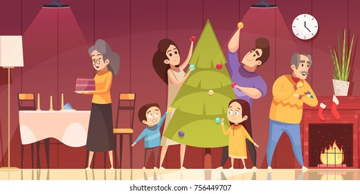 Family Decorating Fir Tree And Preparing To Celebrate Christmas At Home Cartoon Vector Illustration