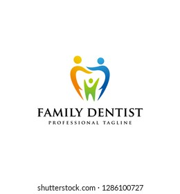 Family dental logo vector, Dental care logotype, icon vector