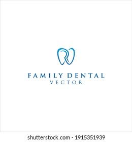 Family Dental Logo.Letter R and tooth Icon Vector Design