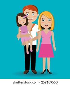 Family design over blue background, vector illustration.