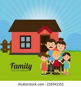 Family design over landscape background, vector illustration