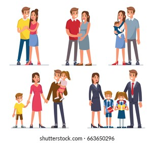 Family development stages. Mother, father and kids. Flat style vector illustration isolated on white background.