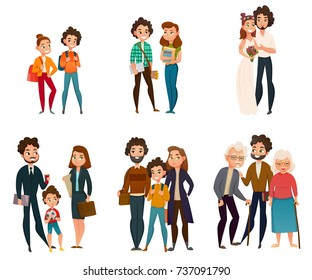 Family development stages set including couple in childhood, during wedding, parenting, old age isolated vector illustration