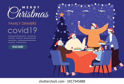 family dinner at christmas time with surgical mask covid19
