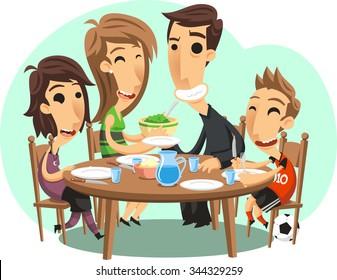 Family dinner vector cartoon