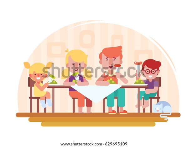 Family dinner Vector illustration in a flat style. Happy family - Father mother, son and daughter together sit at the table and have a lunch.