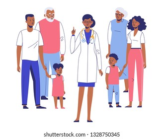 Family doctor concept with ethnic patients. Happy african american family mother, father, children, grandfather, grandmother standing together with young black practitioner woman