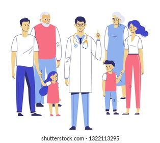 Family doctor concept with patients. Happy family mother, father, children, grandfather, grandmother standing together with young practitioner man