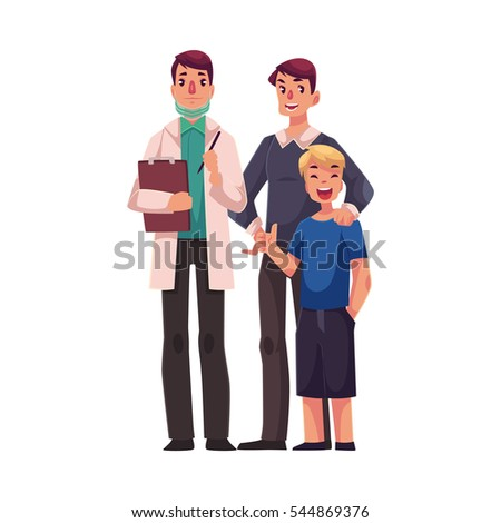 c3d50ea58 Family doctor with father and son standing together, cartoon vector  illustration isolated on white background