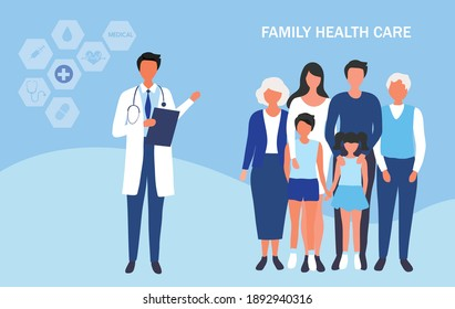 Family doctor health care concept, mother, father, children and older people visiting doctor to check their health vector illustration. Medical family health care concept