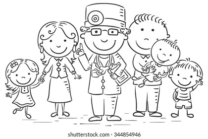 Family doctor with his patients, black and white outline