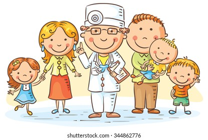 Family doctor with his patients, parents and three kids