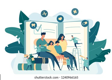 Family doctor. Pediatrician. Big mom, dad and children are sitting on the chair. Little doctors explore health. Modern digital illustration design