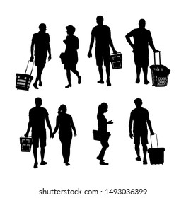 Family doing everyday grocery with shopping basket at supermarket vector silhouette isolated. Man and woman with consumer bag buy food and goods. Procurement of supplies. Couple home budget planning