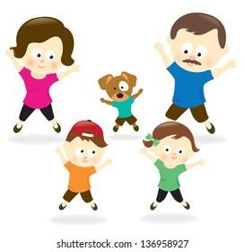 Family doing jumping jacks