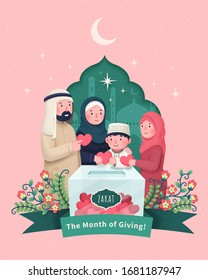 A family donating alms to help the poor in paper cut design, inspired by Zakat, an important Islamic obligation of donation
