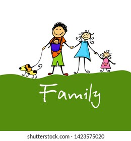 Family drawing caricature. Cartoon dad, mom, brother and sister. Vector illustration