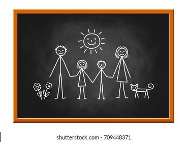 Family drawing on blackboard