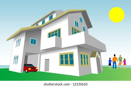 Family Dream Home Vector. Every feature of this building including doors and windows can be edited or colored to suit.