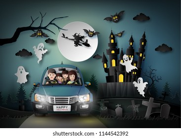 Family driving in car with ghost and graveyard in full moon. Paper art style.