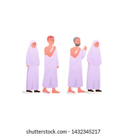 Family During Hajj and Ihram Wearing Ihram Illustration Cartoon
