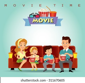 Family eating popcorn and watching movies.vector