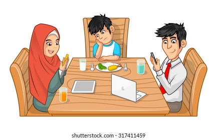 Family Eating Together Cartoon Character Parents are Busy with Their Gadgets and Sullen Boy with Head on Hand Vector Illustration