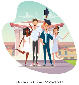 Family Education and University Graduation. Two Multiracial Couples in Love. Girls Congratulate Guys Received Diploma. Cartoon People Characters Celebrating Education Finish. Vector Flat illustration