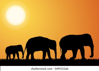 Family of elephant in Africa vector