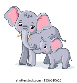 Family of elephants on a white background. Cute african animals in cartoon style. Mother and baby elephants.