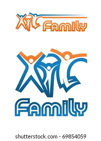 A family emblem (two variants of compositions). Three symbolic graphic figures of woman, child and man, jumping up together in a different manner. I have used my own designed font