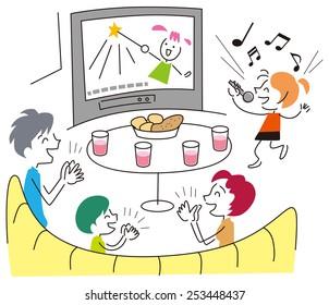 Family to enjoy the karaoke