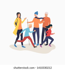 Family enjoying hiking. Running children, people with Nordic poles, conversation. Leisure concept. Vector illustration can be used for topics like Nordic walking and outdoor activity