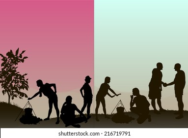 A family enjoys a day out in the country with pot and fire. All silhouettes are in full including feet.