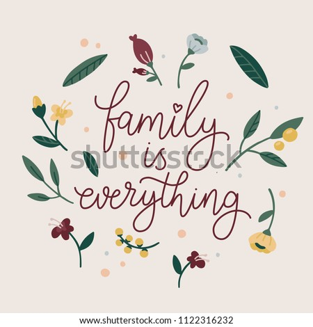 Family Everything Hand Drawn Quote About Stock Vector Royalty Free