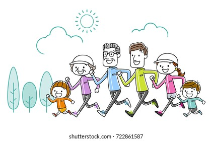 Family: exercise, sports, running