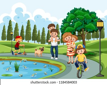 Family exercising in a park illustration