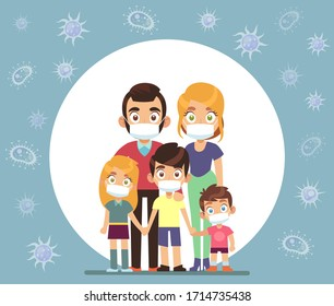 Family face masks. Parents and children wearing protective medical mask for prevent virus vector healthcare concept