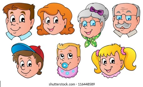 Family faces theme image 1 - vector illustration.