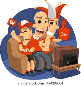 family of fans watching a match on tv