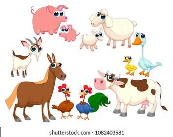 Family farm animals. Happy and funny isolated vector cartoon characters.