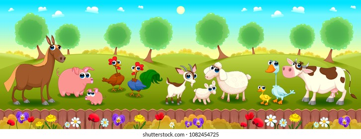 Family farm animals in the nature. Happy and funny isolated vector cartoon characters.