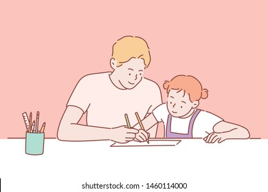 Family Father Daughter Love Parenting Teaching Drawing Togetherness Concept . Hand drawn style vector design illustrations.