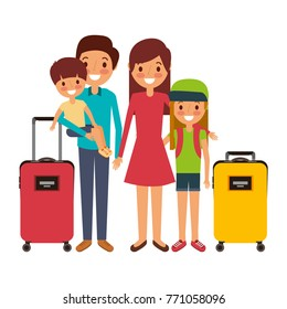 family father mother and kids with vacations luggage