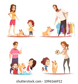 Family with favorite puppy during game, pranks with toilet paper and water, design concept isolated vector illustration