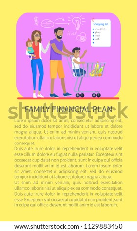 family financial plan shopping list things stock vector royalty