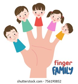 Family finger puppets. Parents with child. Cartoon vector illustration of happy puppet family. Togetherness, family love concept.