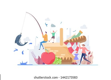 Family Fishing And Picnic Vector Illustration Concept Showing a family enjoying picnic and fishing in outdoor activity, Suitable for landing page, ui, web, App intro card, editorial, flyer, and banner