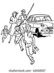 Family Fishing Trip - Retro Clipart Illustration